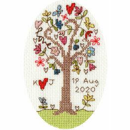 Sweet Tree Wedding / Anniversary Cross Stitch Card Kit