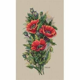 Vintage Poppies Cross Stitch Kit