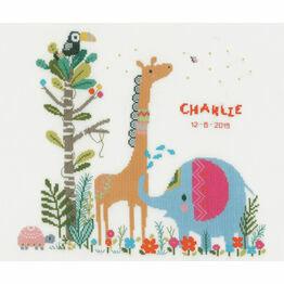 Jungle Animal Party Birth Sampler Cross Stitch Kit