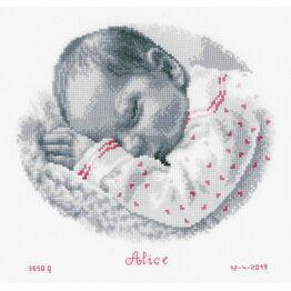 Sleeping Baby Birth Record Cross Stitch Kit