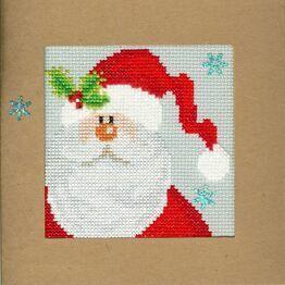 Snowy Santa Cross Stitch Christmas Card Kit