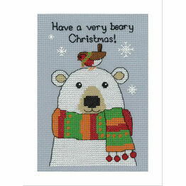 Bertie Polar Bear Cross Stitch Christmas Card Kit
