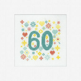 60th Celebration Cross Stitch Card Kit