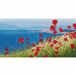 Summer, Sea, Poppies Cross Stitch Kit