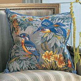 Kingfishers Cushion Panel Needlepoint Kit