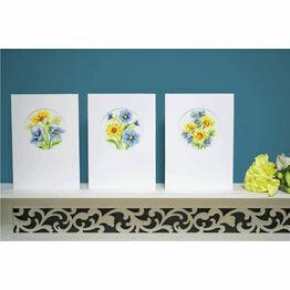 Blue & Yellow Flowers Set Of 3 Cross Stitch Card Kits