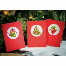 Christmas Circles Cross Stitch Card Kits Set of 3