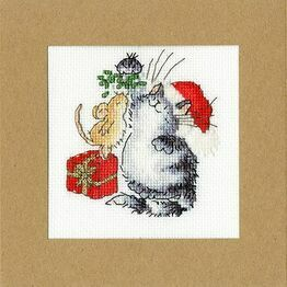 Under The Mistletoe Cross Stitch Christmas Card Kit