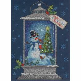 Snowman Lantern Cross Stitch Kit