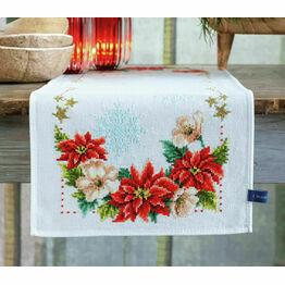 Christmas Flowers Cross Stitch Table Runner Kit