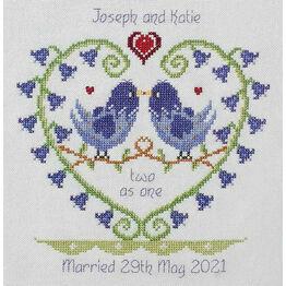 Bluebell Heart Wedding Sampler Cross Stitch Kit
