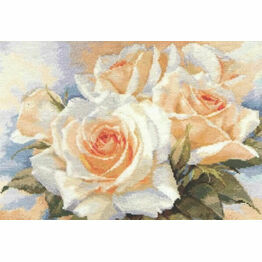 White Roses Cross Stitch Kit