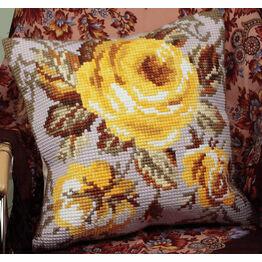 Antique Rose Yellow Chunky Cross Stitch Cushion Panel Kit