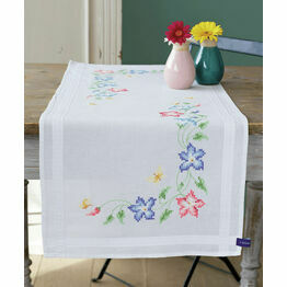 Pink And Blue Flowers Cross Stitch Table Runner Kit
