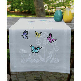 Butterfly Dance Cross Stitch Embroidery Table Runner Kit