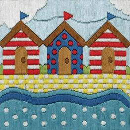 Colourful Beach Huts Long Stitch Kit