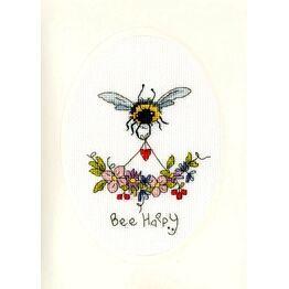 Bee Happy Cross Stitch Card Kit