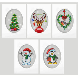 Oval Christmas Greetings Cards (Set of 5) Cross Stitch Kits