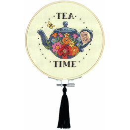 Tea Time Learn-A-Craft Counted Cross Stitch Kit With Hoop