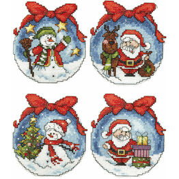 Christmas Baubles Snowman And Santa Cross Stitch Ornaments Kit