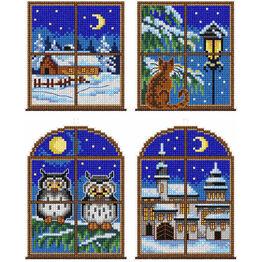 Night Time Window Cross Stitch Ornaments Kit