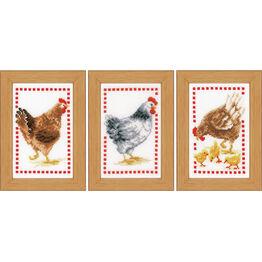 Chickens Miniatures Cross Stitch Kit (Set of 3)