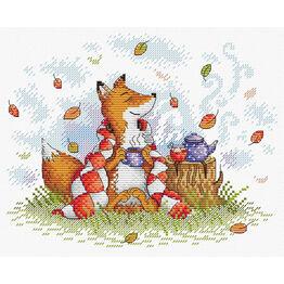 Autumn Tea Fox Cross Stitch Kit