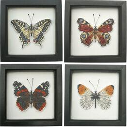 Set Of Four Butterflies Faux Taxidermy Cross Stitch Kits