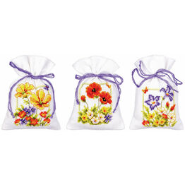 Summer Flowers Set Of 3 Pot-Pourri Bag Cross Stitch Kits