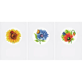 Summer Flowers Set Of 3 Greetings Card Cross Stitch Kits