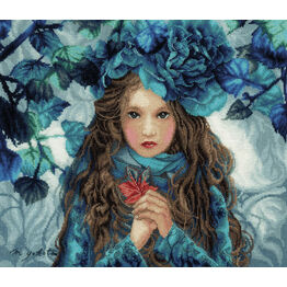 Blue Flowers Girl Cross Stitch Kit