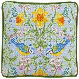 Spring Blue Tits Cushion Panel Tapestry Kit