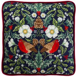Winter Robins Cushion Panel Tapestry