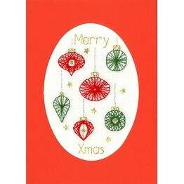 Red & Green Christmas Baubles Cross Stitch Card Kit