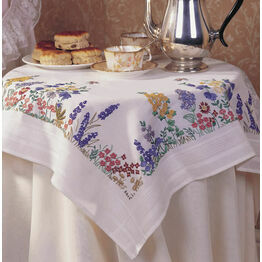 Spring Flowers Embroidery Tablecloth Kit