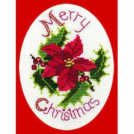 Poinsettia & Holly Cross Stitch Christmas Card Kit