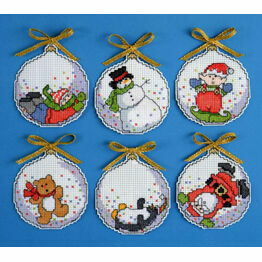 Bubbles Counted Cross Stitch Ornaments Christmas Kit (Set of 6)