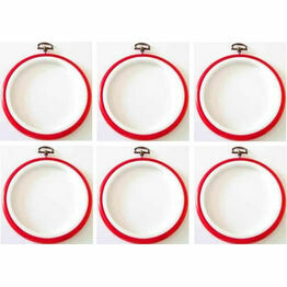 """Stitch Garden Set of 6 Embroidery Flexi Hoops - Red (3"""")"""