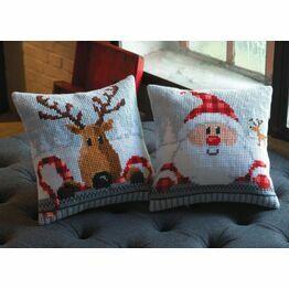 Set Of 2 Chunky Cross Stitch Christmas Cushion Kits