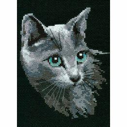 Russian Blue Cat Cross Stitch Kit