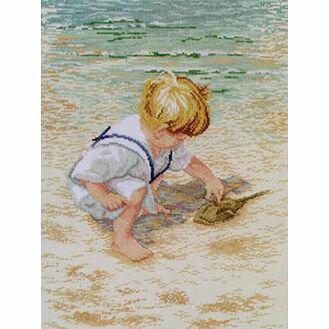 Boy With Horseshoe Crab Cross Stitch Kit
