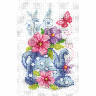 Blue Tea Pot & Flowers Cross Stitch Kit