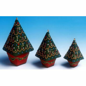 Set of 3 Christmas Trees 3D Cross Stitch Kit