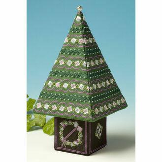 Blue & Silver Tall Tree 3D Cross Stitch Kit