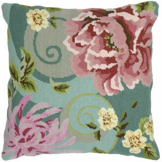 Floral Swirl In Green Tapestry Cushion Panel Kit