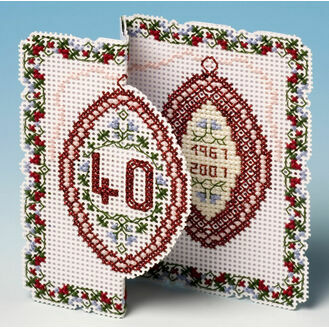 Ruby Anniversary Card 3D Cross Stitch Kit