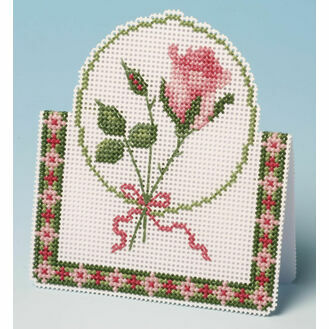 Pink Rose Card 3D Cross Stitch Kit
