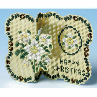 Golden Flowers Christmas Card 3D Cross Stitch Kit
