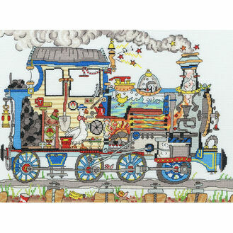 Cut Thru' Steam Train Cross Stitch Kit