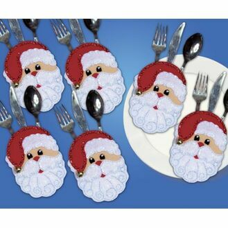Santa Faces Cutlery Pockets Felt Kit